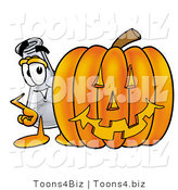 Illustration of a Science Beaker Mascot with a Carved Halloween Pumpkin by Toons4Biz