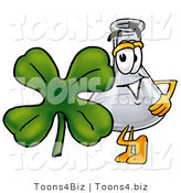 Illustration of a Science Beaker Mascot with a Green Four Leaf Clover on St Paddy's or St Patricks Day by Toons4Biz