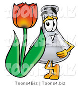 Illustration of a Science Beaker Mascot with a Red Tulip Flower in the Spring by Toons4Biz