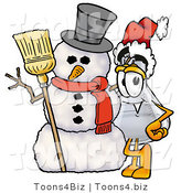Illustration of a Science Beaker Mascot with a Snowman on Christmas by Toons4Biz