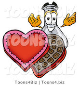 Illustration of a Science Beaker Mascot with an Open Box of Valentines Day Chocolate Candies by Toons4Biz