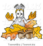 Illustration of a Science Beaker Mascot with Autumn Leaves and Acorns in the Fall by Toons4Biz