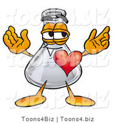 Illustration of a Science Beaker Mascot with His Heart Beating out of His Chest by Toons4Biz