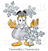Illustration of a Science Beaker Mascot with Three Snowflakes in Winter by Toons4Biz
