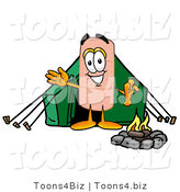 Illustration of an Adhesive Bandage Mascot Camping with a Tent and Fire by Toons4Biz