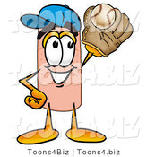 Illustration of an Adhesive Bandage Mascot Catching a Baseball with a Glove by Toons4Biz