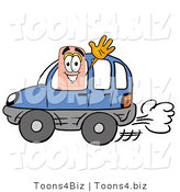 Illustration of an Adhesive Bandage Mascot Driving a Blue Car and Waving by Toons4Biz