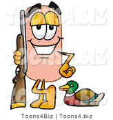 Illustration of an Adhesive Bandage Mascot Duck Hunting, Standing with a Rifle and Duck by Toons4Biz