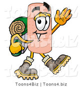 Illustration of an Adhesive Bandage Mascot Hiking and Carrying a Backpack by Toons4Biz