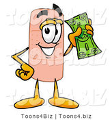Illustration of an Adhesive Bandage Mascot Holding a Dollar Bill by Toons4Biz