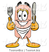 Illustration of an Adhesive Bandage Mascot Holding a Knife and Fork by Toons4Biz