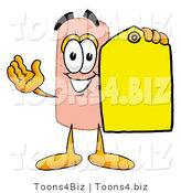 Illustration of an Adhesive Bandage Mascot Holding a Yellow Sales Price Tag by Toons4Biz