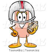 Illustration of an Adhesive Bandage Mascot in a Helmet, Holding a Football by Toons4Biz