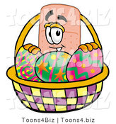 Illustration of an Adhesive Bandage Mascot in an Easter Basket Full of Decorated Easter Eggs by Toons4Biz