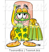 Illustration of an Adhesive Bandage Mascot in Green and Yellow Snorkel Gear by Toons4Biz