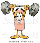 Illustration of an Adhesive Bandage Mascot Lifting a Heavy Barbell by Toons4Biz