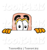 Illustration of an Adhesive Bandage Mascot Peeking over a Surface by Toons4Biz