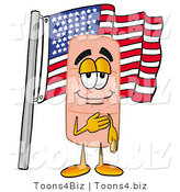 Illustration of an Adhesive Bandage Mascot Pledging Allegiance to an American Flag by Toons4Biz