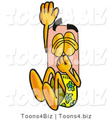 Illustration of an Adhesive Bandage Mascot Plugging His Nose While Jumping into Water by Toons4Biz