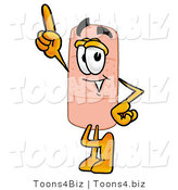 Illustration of an Adhesive Bandage Mascot Pointing Upwards by Toons4Biz