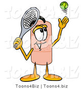 Illustration of an Adhesive Bandage Mascot Preparing to Hit a Tennis Ball by Toons4Biz
