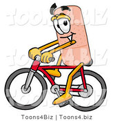 Illustration of an Adhesive Bandage Mascot Riding a Bicycle by Toons4Biz