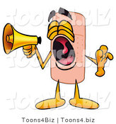 Illustration of an Adhesive Bandage Mascot Screaming into a Megaphone by Toons4Biz