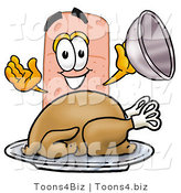 Illustration of an Adhesive Bandage Mascot Serving a Thanksgiving Turkey on a Platter by Toons4Biz