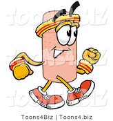 Illustration of an Adhesive Bandage Mascot Speed Walking or Jogging by Toons4Biz