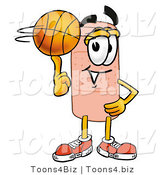 Illustration of an Adhesive Bandage Mascot Spinning a Basketball on His Finger by Toons4Biz