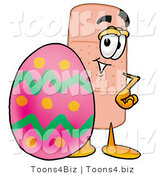 Illustration of an Adhesive Bandage Mascot Standing Beside an Easter Egg by Toons4Biz