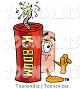 Illustration of an Adhesive Bandage Mascot Standing with a Lit Stick of Dynamite by Toons4Biz