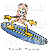Illustration of an Adhesive Bandage Mascot Surfing on a Blue and Yellow Surfboard by Toons4Biz