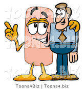 Illustration of an Adhesive Bandage Mascot Talking to a Business Man by Toons4Biz