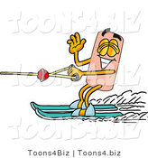 Illustration of an Adhesive Bandage Mascot Waving While Water Skiing by Toons4Biz