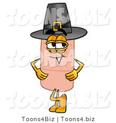 Illustration of an Adhesive Bandage Mascot Wearing a Pilgrim Hat on Thanksgiving by Toons4Biz
