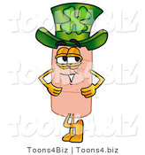 Illustration of an Adhesive Bandage Mascot Wearing a Saint Patricks Day Hat with a Clover on It by Toons4Biz