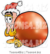 Illustration of an Adhesive Bandage Mascot Wearing a Santa Hat, Standing with a Christmas Bauble by Toons4Biz