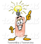 Illustration of an Adhesive Bandage Mascot with a Bright Idea by Toons4Biz