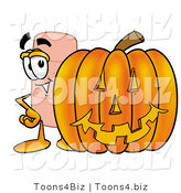 Illustration of an Adhesive Bandage Mascot with a Carved Halloween Pumpkin by Toons4Biz