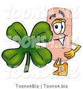 Illustration of an Adhesive Bandage Mascot with a Green Four Leaf Clover on St Paddy's or St Patricks Day by Toons4Biz