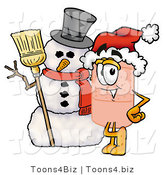 Illustration of an Adhesive Bandage Mascot with a Snowman on Christmas by Toons4Biz