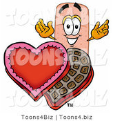 Illustration of an Adhesive Bandage Mascot with an Open Box of Valentines Day Chocolate Candies by Toons4Biz