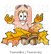 Illustration of an Adhesive Bandage Mascot with Autumn Leaves and Acorns in the Fall by Toons4Biz