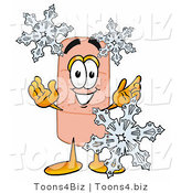 Illustration of an Adhesive Bandage Mascot with Three Snowflakes in Winter by Toons4Biz