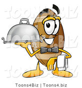 Illustration of an American Football Mascot Dressed As a Waiter and Holding a Serving Platter by Toons4Biz