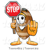 Illustration of an American Football Mascot Holding a Stop Sign by Toons4Biz