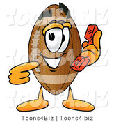 Illustration of an American Football Mascot Holding a Telephone by Toons4Biz