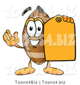 Illustration of an American Football Mascot Holding a Yellow Sales Price Tag by Toons4Biz
