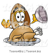 Illustration of an American Football Mascot Serving a Thanksgiving Turkey on a Platter by Toons4Biz